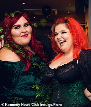 Miranda (right) is pictured left with friendsat one of Club Indulge's events.