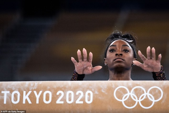 Training continues for other Olympic athletes, such as gymnastics star Simone Biles (pictured), who reportedly landed another Yurchenko Double Pike vault — a move so difficult it hasn't been attempted in Olympic competition