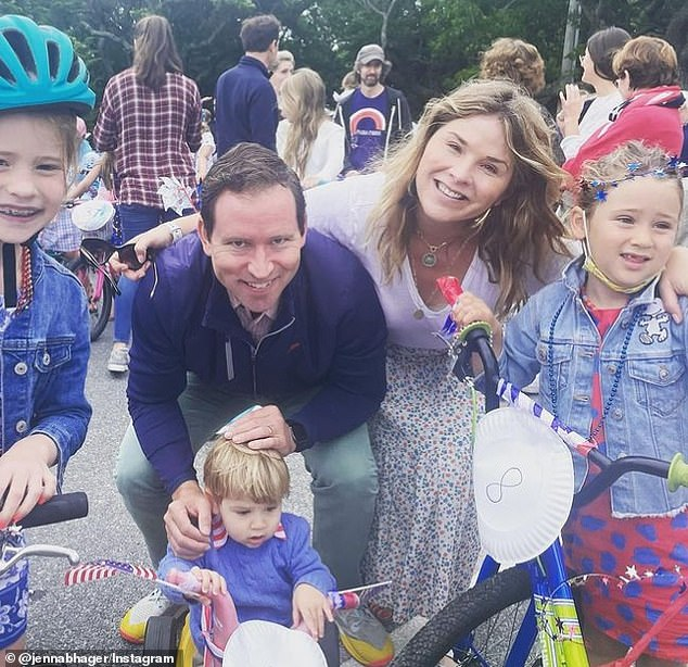 Party of five: Jenna and Henry are also parents to a five-year-old daughter, Poppy, and 23-month-old son, Hal