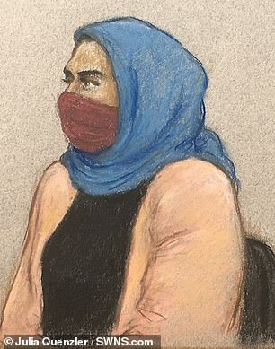 Snaresbrook Crown Court heard the 31-year-old (pictured in a court sketch) successfully gained a social housing tenancy in under four months, rather than the average three-year wait, due to her claims
