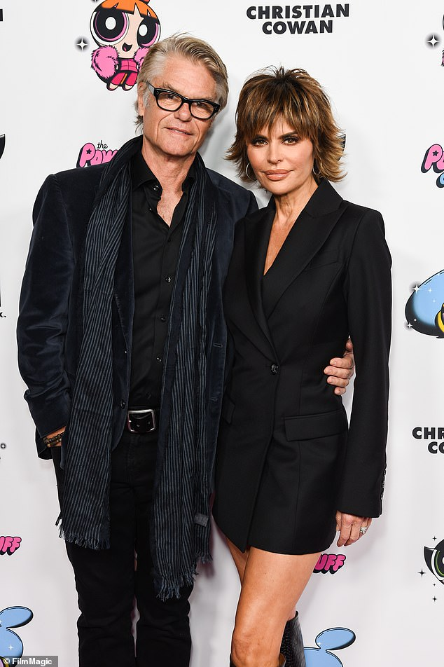 Clarification: Rinna said the affair took place before she met her husband of 24, Harry Hamlin, 69.  Seen in 2020