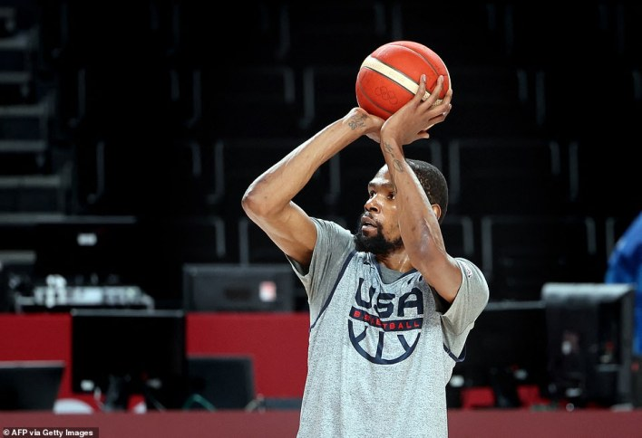 Team USA's Kevin Durant warms up during a training sessionat the Saitama Super Arena in Saitama on Thursday