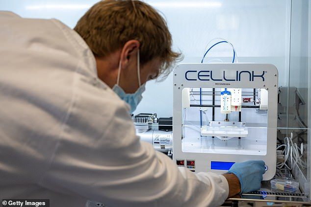 3D printers have been used to manufacture everything from prosthetic limbs to robots.  This version emits a 'bio-ink' made from human cartilage-specific stem cells and nanocellulose (derived from plants)