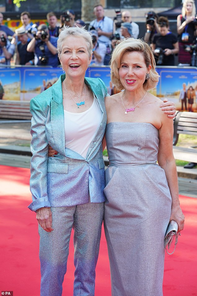 In Memory: Actresses Sally Phillips, 51, and Jenny Seagrove, 64, walked the red carpet of their new movie Off The Rails wearing necklaces bearing the name of their late co-star, Kelly Preston