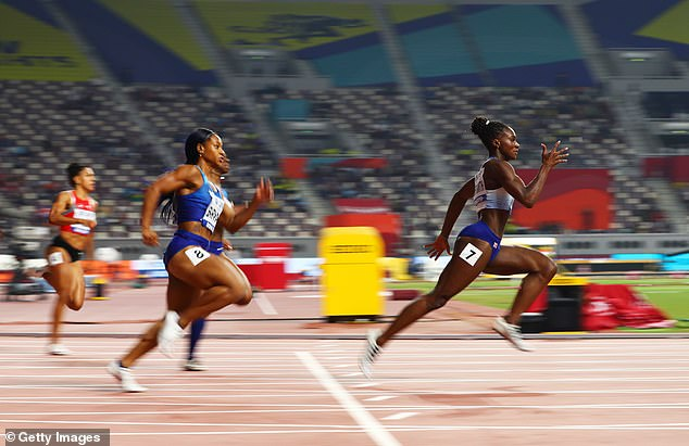 Team GB's Asher-Smith (right) is one of the favorites for the 100m and 200m . this summer