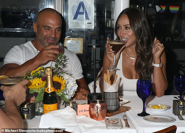 Night out: Melissa, 42, and Joe, 41, were spotted eating with friends in the Big Apple