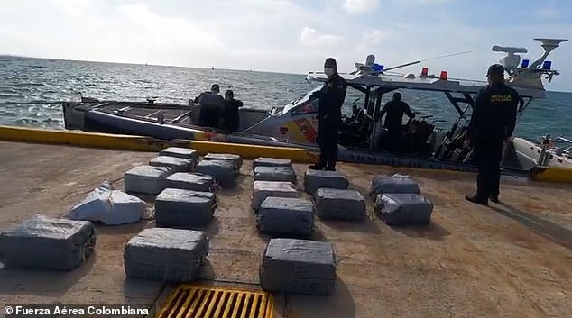 Over a ton and a half of cocaine was seized in an operation between the Colombian and Panamanian military on Sunday. A speed boat manned by five Colombian nationals was spotted and stopped 45 miles off the island of San Andrés. The men dumped some of the containers filled with plastic bags of cocaine as part of their failed attempt to avoid capture