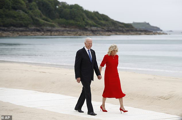US President Joe Biden and First Lady Jill Biden arrive for the G7 meeting at Carbis Bay Hotel in St Ives, Cornwall, on June 11