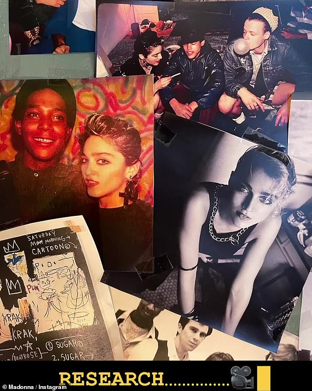 A better look:Previous Instagram posts even showed a vintage photo of the pair from that time, along with more art from Basquiat beneath it, stuck up on the wall amongst other images making up more of Madonna's 'research'