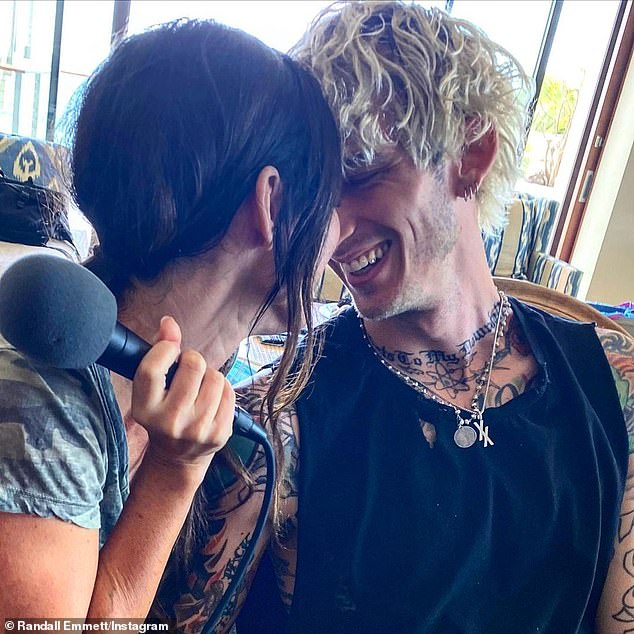 Love on set:The actress found love on the set of her new film with the rapper - whose real name is Colson Baker - and she claimed she felt driven to be in the movie because 'the universe' told her it would be 'rewarding' for her in some way