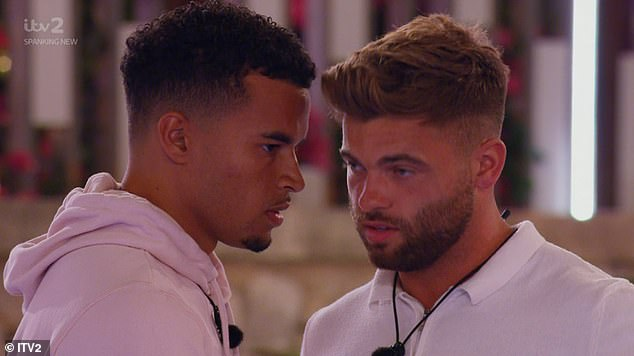 Calm down: Toby had to be calmed down by pal Jake following Hugo's words