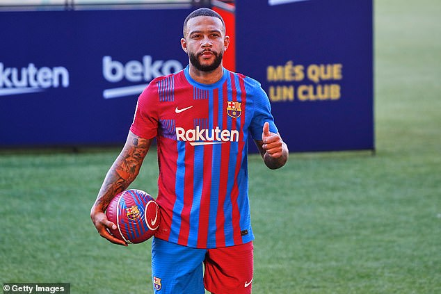 Forward Memphis Depay was unveiled in Barcelona colours for the first time on Thursday
