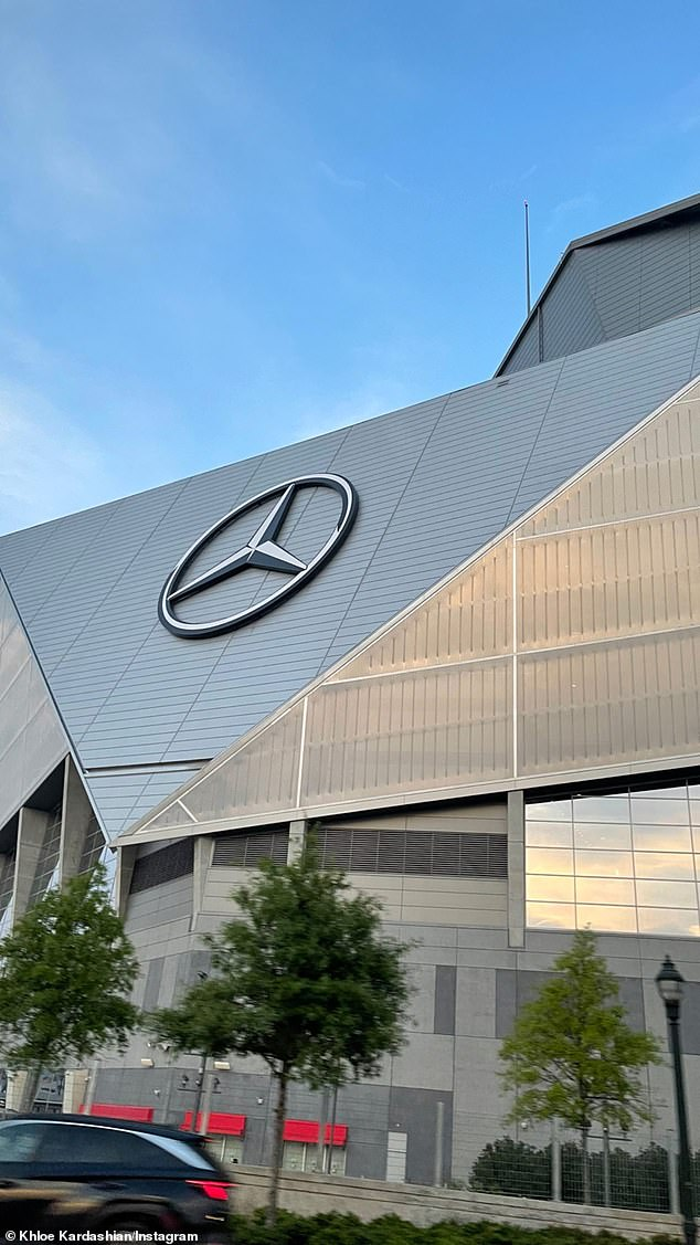 Stadium:She also shared a snap outside of the football arena, home to the Atlanta Falcons