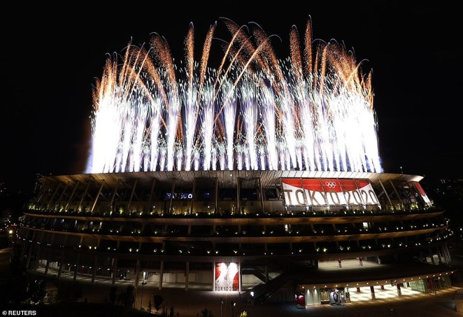 The Tokyo Olympics began with a bang as fireworks exploded over an otherwise eerily quiet arena after crowds were banned with less than 1,000 dignitaries, delegates, and VIPs in attendance