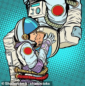 Pictured: a cartoon of astronauts kissing