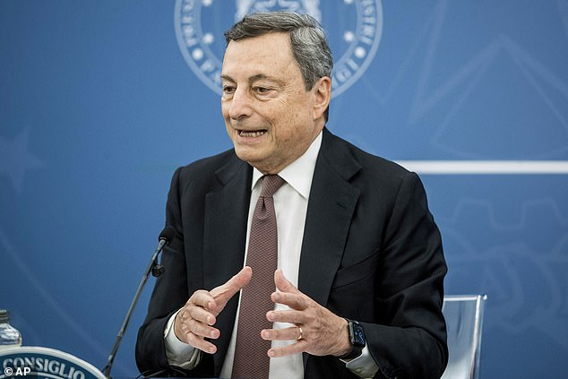 Premier Mario Draghi's (pictured on Thursday) government approved a decree ordering the use of the so-called 'green' passes starting on August 6