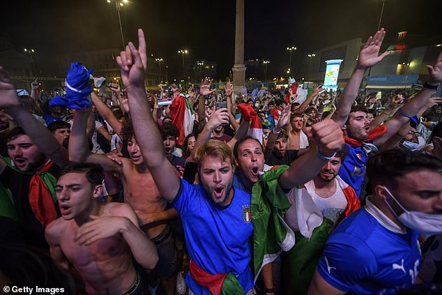 Fuelled in part by huge street celebrations (pictured, July 11) after Italy's win in the recent European soccer championships this month, new daily cases have climbed again