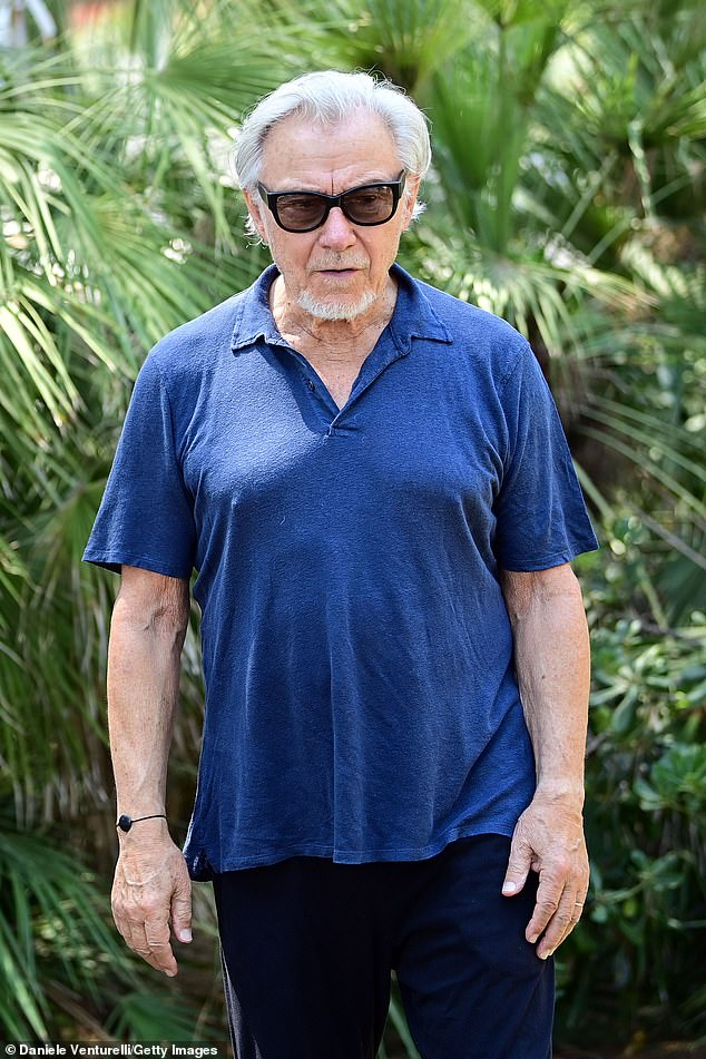 Casual: actor and director Harvey wearing a navy t-shirt and dark chinos