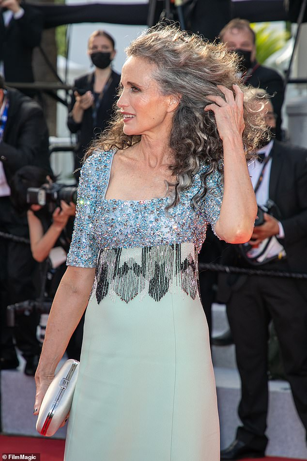 Stunning: The 63-year-old actress wowed the 2021 Cannes Film Festival red carpet when she revealed her natural hair, but admitted her managers tried to talk her out of it