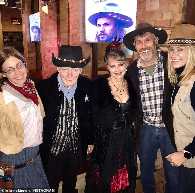 Close: In a heartfelt post on Instagram, she remembered John as a good friend and mentor to herself and her husband of 17 years, former Channel Nine boss David Gyngell. Pictured with John's wifeDelvene Delaney (centre) and Leila's husbandDavid Gyngell (second from right)