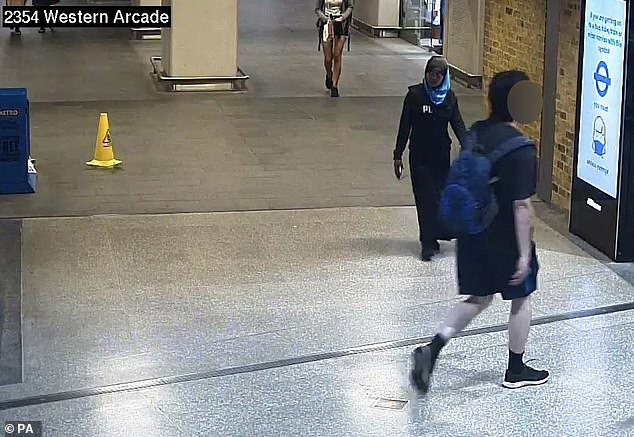 Her parents, Asheem and Misra, were said to be 'extremely worried', adding that they miss her and she is not in any trouble (Pictured: Fatuma is seen on CCTV at Euston Station in London)