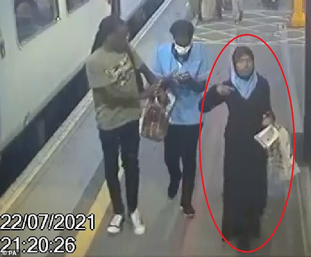 Fatuma Kadir, from Bolton, left home without her parents' knowledge on Thursday evening before travelling on several trains to get to London Euston at 1.13am on Friday (pictured: Fatuma on CCTV at Birmingham New Street station at 9.20pm)