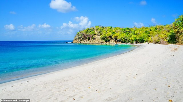 Heavenly: Pictured is the beautiful sandy beach and blue sea at Anse La Roche Bay on Carriacou island