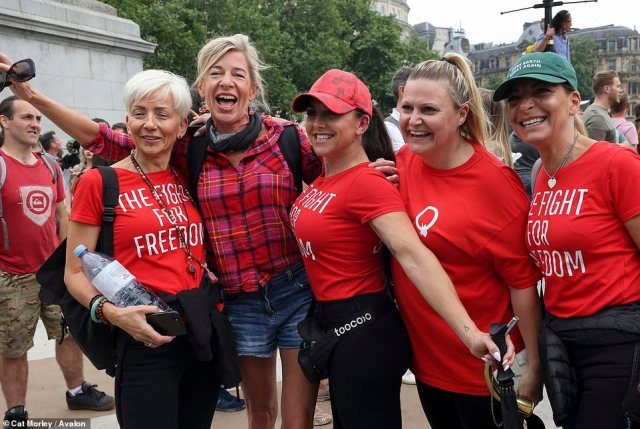 Katie Hopkins was among thousands of campaigners on the streets of London today for a protest against vaccine passports, wearing masks and further lockdowns