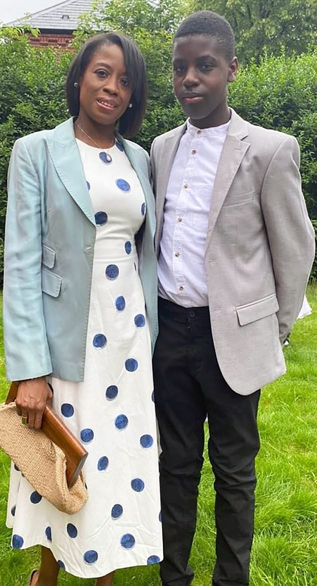Christina Owusu, left, pictured with her 13-year-old son Isaiah, right, suffers from sickle cell anaemia. She has been shielding since March 2020 because of her condition. Despite her best efforts and by remaining at home, she contracted Covid-19 in December and spent three weeks in intensive care. She has since been vaccinated and because of her condition, her young son is also eligible for the jab
