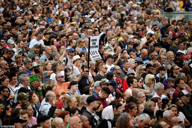 Demonstrators gather in Trafalgar Square during a rallyagainst the vaccine passport scheme and further lockdowns