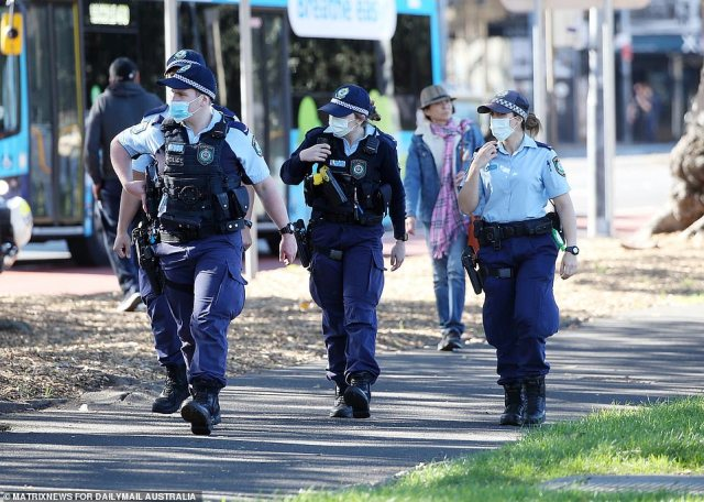 Police (pictured) were aware of the protests beforehand but they had no approval lodged after the application was withdrawn