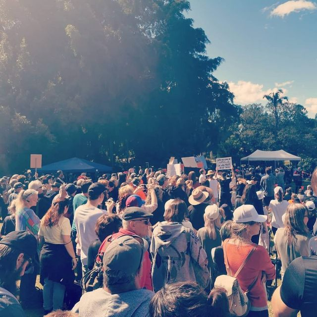 Brisbane is not in lockdown this weekend but that did not stop large crowds gathering in the Queensland city to demonstrate against coronavirus restrictions