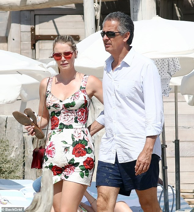 Lady Kitty Spencer, 30, pictured with her now husband Michael Lewis, 62 (photo taken during a trip to St Tropez in 2019)