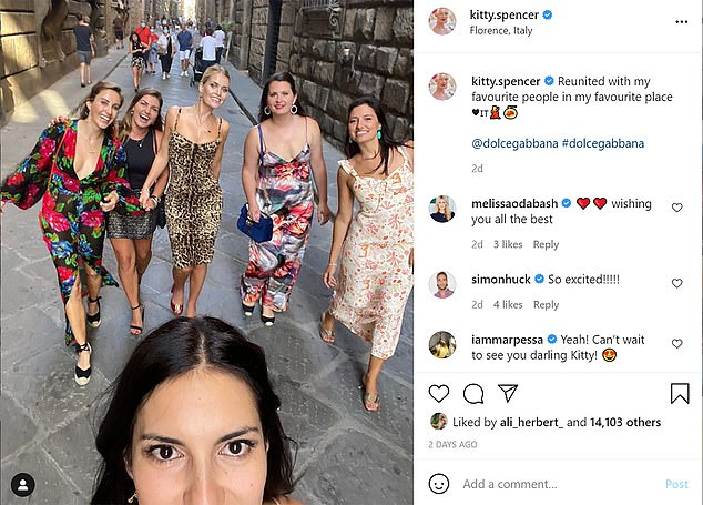 Lady Kitty Spencer posted a photo with her friends, writing: 'Reunited with my favourite people in my favourite place'