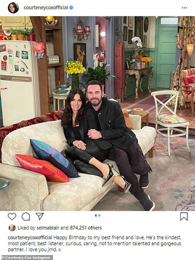 Happy birthday: Courteney shared a shot of them snuggled up on set of the iconic sitcom, specifically the setting used for her character Monica's apartment