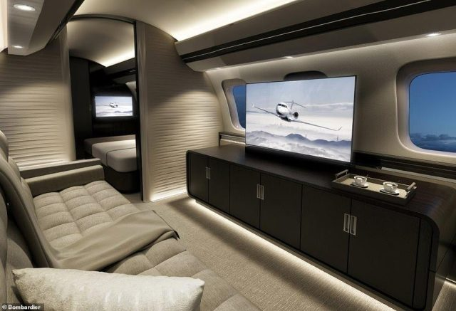 Entertainment on board is top drawer. Even the standard configuration comes with a TV suite (pictured) that contains a 4K 40-inch high-definition screen, high fidelity speakers and a three-seat divan