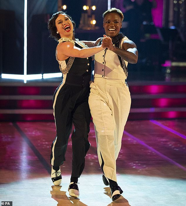 First:Nicola Adams and her professional partner Katya Jones made history as the first same-sex couple to compete in the BBC One celebrity dancing competition (pictured in 2020)