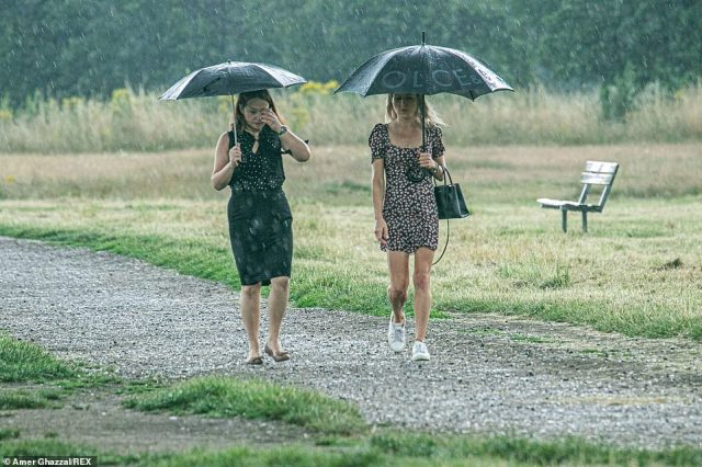 Two friends in summer dresses shelter themselves from heavy rain showers which broke the week long heatwave in London