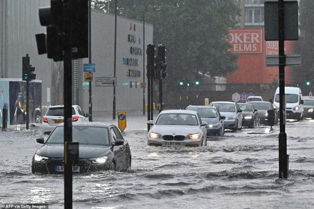 Met Office meteorologist Steven Keates said the storms are being caused by a 'convergence' of air currents, due to warmth in the earth's surface from the recent heatwave rising into cooler air in the atmosphere. Pictured: Nine Elms district, London