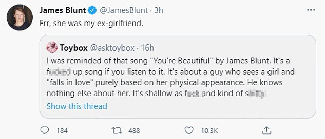 Ha!  In April, James mocked a troll who accused him of writing
