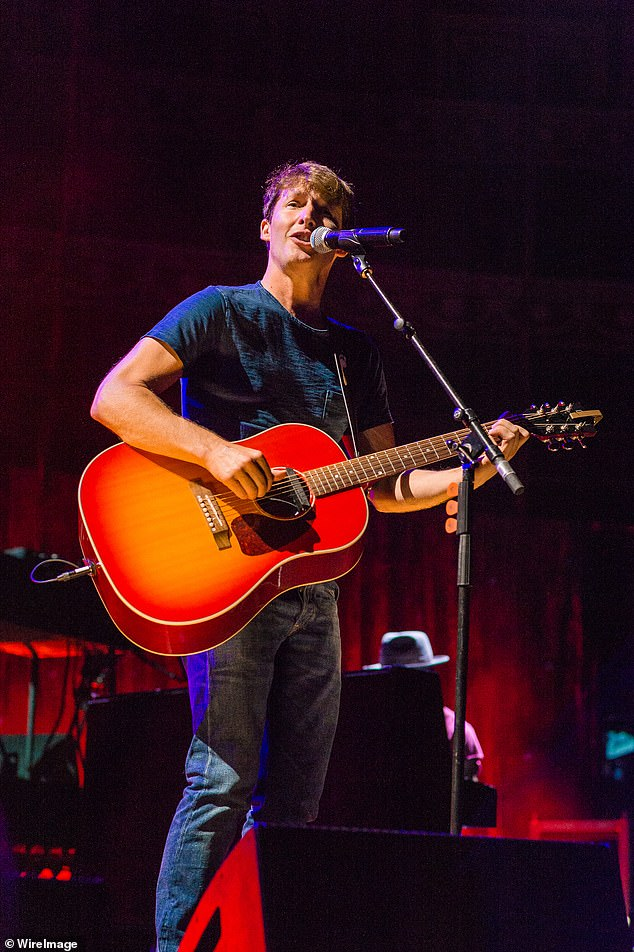 Oh my God: James Blunt revealed his voice remained 'f *** d' after catching Covid just two weeks before his comeback gig (pictured at said concert at the Royal Albert Hall on Friday)