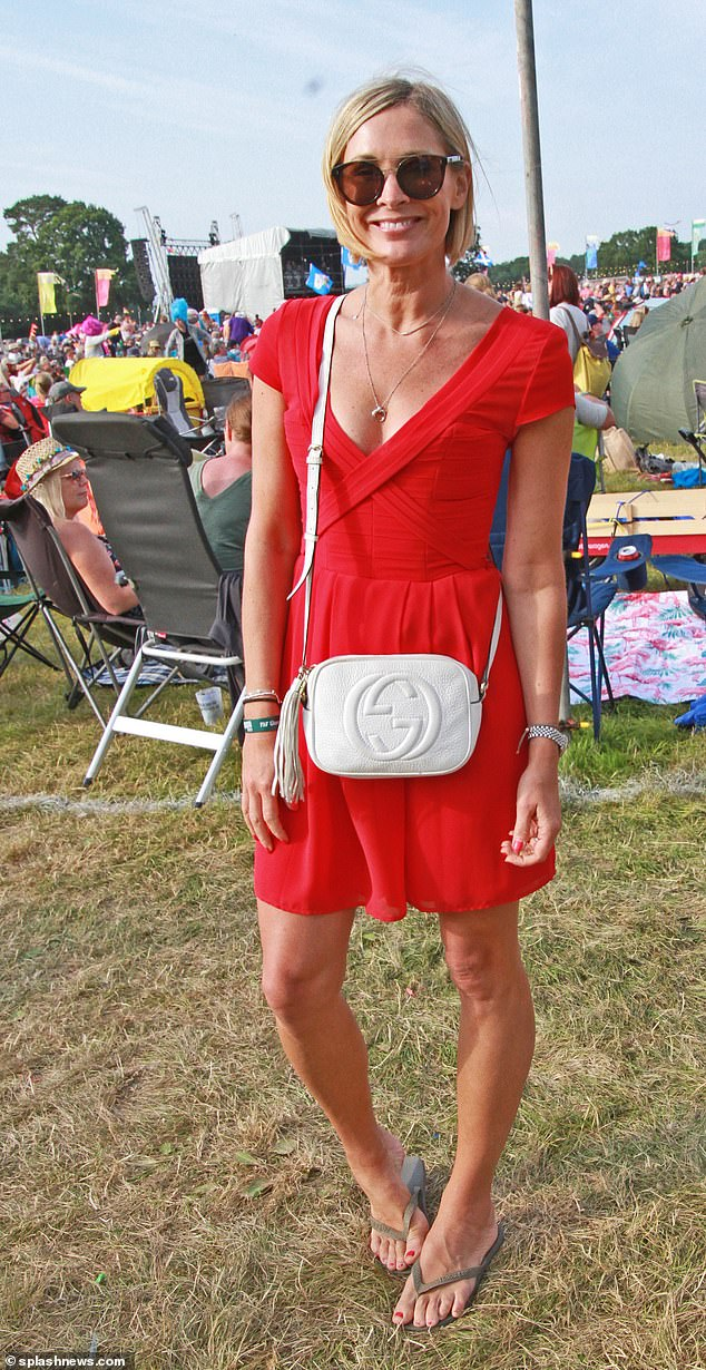 Stunning: Jenni Falconer looked stunning in a little red dress and flip flops