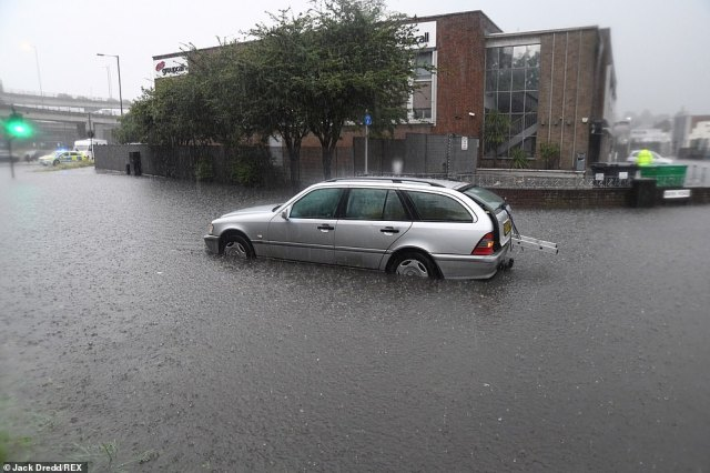 London Fire Brigade said they received more than 600 calls to flooding related incidents yesterday including to stranded cars