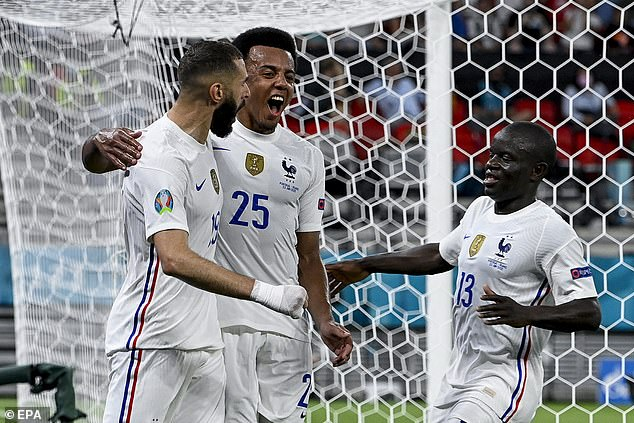 However, Kounde (centre) played at right-back for France at Euro 2020 in a draw with Portugal