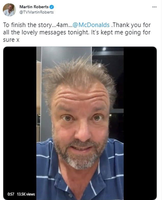 Hooray!By 4am, the entrepreneur had been discharged and he treated himself to a sought-after McDonalds