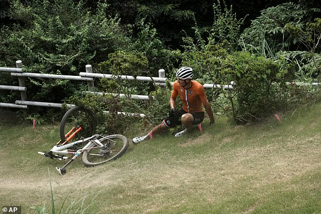 Van der Poel got up after the crash before leaving the race to go to hospital for X-ray scans