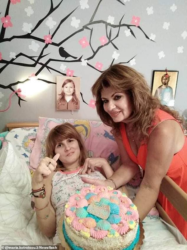 Myrto (left, with mother Mary) was left bed-bound and unable to communicate after she was raped and hit with a stone by a stranger while on holiday on the Greek island of Paros