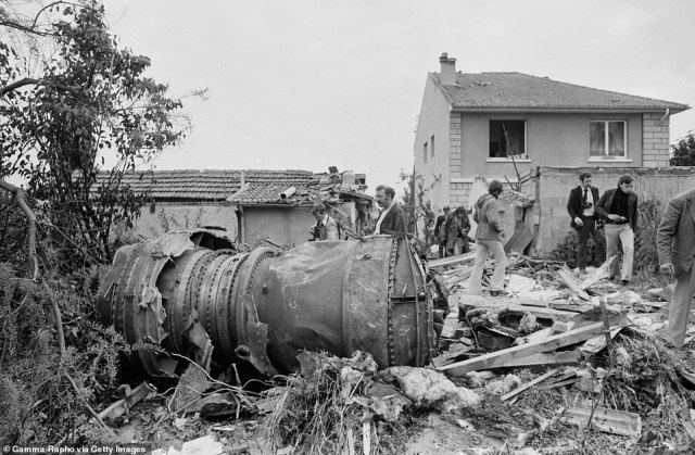 The plane was dogged by disasters ¿ the most famous being when it fell out of the sky and burst into flames at the Paris Air Show on June 3, 1973, killing six crew members and eight people on the ground, including three children. Above: The aftermath of the crash