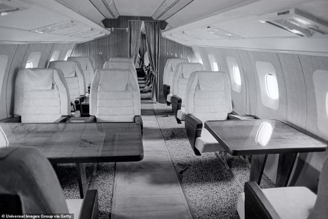 Like Concorde, it was prohibitively expensive to run the Tupolev Tu-144 and it was plagued by malfunctions. Unlike its Western competitor, the plane was bigger, heavier and less technologically advanced. It was also loud and uncomfortable for passengers. Above: Its interior