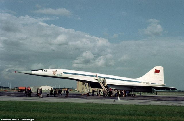 On December 31, 1968, three months before Concorde's first test flight, the Tupolev Tu-144 - which was dubbed the 'Konkordski' due to its resemblance to its Western competitor' - was unveiled by the Moscow-based Voronezh Aircraft Production Association. Above: The plane in Germany in 1971